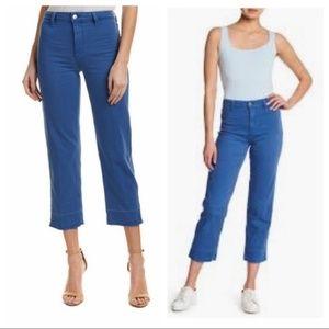 Joe's 29 Blue Cabana High Rise Straight Crop Jeans